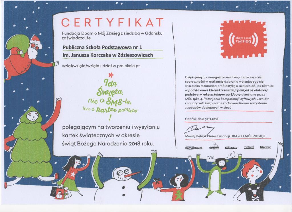 certyfikat kartki